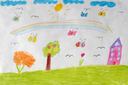 image of children's drawing of house, flowers and rainbow