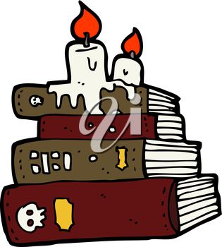 Royalty Free Clipart Image of a Stack of Books with Candles