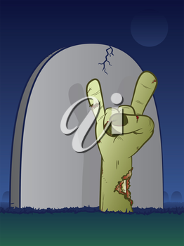 Rock and roll hand with headstone