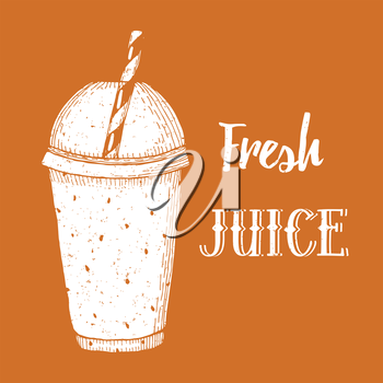 Fresh juice poster in vintage style, vector