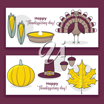 Thanksgiving banners, set of vector design with turkey and pumpkin