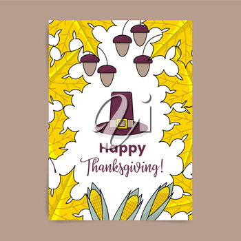 Thanksgiving poster with maple leaves, hazelnuts, corn and settlers hat
