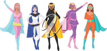 Vector Set Of Five Different Female Superheroes with Masks and Cloaks. Characters for Personal Branding or Social Media Campaign