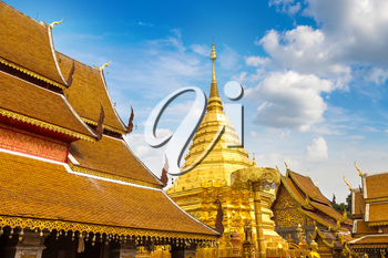 Golden pagoda Wat Phra That Doi Suthep in Chiang Mai, Thailand in a summer day