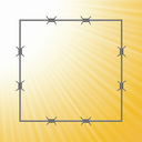 colorful illustration with barbed wire frame on a sun light background  for your design