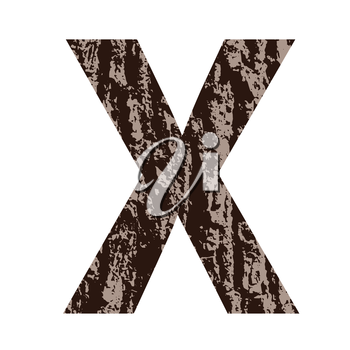 colorful illustration with letter X made from oak bark on  a white background