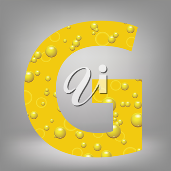 colorful illustration with beer letter G on a grey background