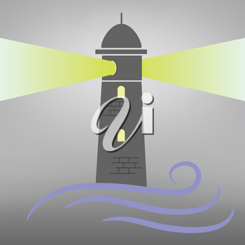 colorful illustration with lighthouse on grey  background