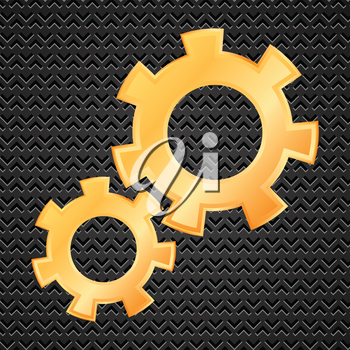 Illustration  with gold gears on dark perforated background. Gear collection. Set of gold gear wheels. Yellow cogs useful for your design.