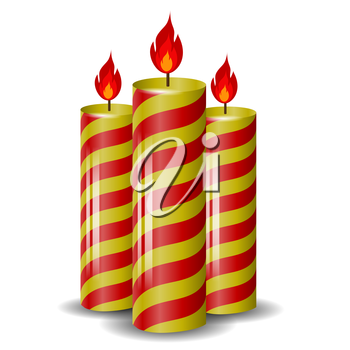Red Yellow Wax Candles Isolated on White Background. Burning Candles Set.