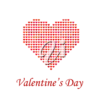 Valentines Day Romantic Banner with Red Heart on White Background.