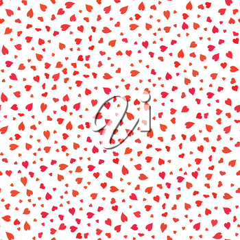 Red Hearts Seamless Pattern. Valentines Day Background. Symbol of Love