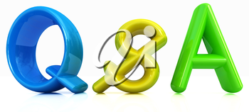 3d colorful text Q&S on a white background