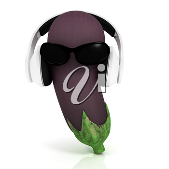 eggplant  with sun glass and headphones front face on a white background