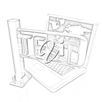 A laptop and a turnstile. The concept of exams or other control on a white background