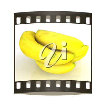 bananas on a white background. The film strip