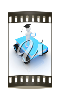 on race cars in the world of knowledge. The concept of rapid learning with tablet pc on a white background. The film strip