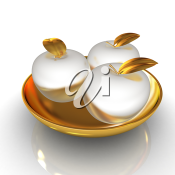 Metall apples on a plate