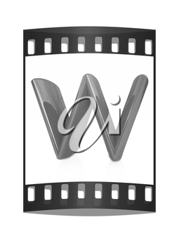 Alphabet on white background. Letter W on a white background. The film strip