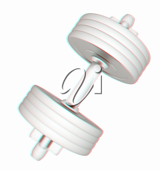 Colorfull dumbbells on a white background. 3D illustration. Anaglyph. View with red/cyan glasses to see in 3D.