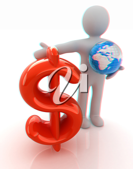 3d people - man, person presenting - dollar with global concept with Earth. 3D illustration. Anaglyph. View with red/cyan glasses to see in 3D.