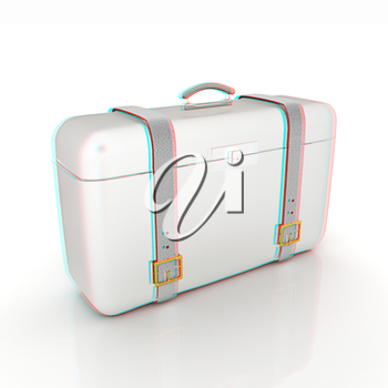 traveler's suitcase . 3D illustration. Anaglyph. View with red/cyan glasses to see in 3D.