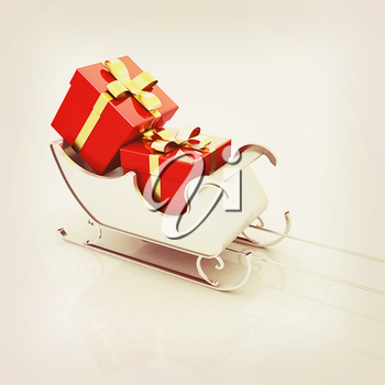 Christmas Santa sledge with gifts on a white background . 3D illustration. Vintage style.