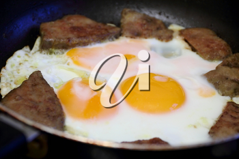 Image of fried eggs and meat for breakfast