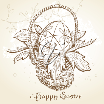 Royalty Free Clipart Image of an Easter Basket Background