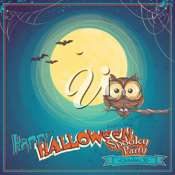 Royalty Free Clipart Image of an Owl on a Halloween Invitation