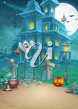 Royalty Free Clipart Image of a Haunted Halloween Background