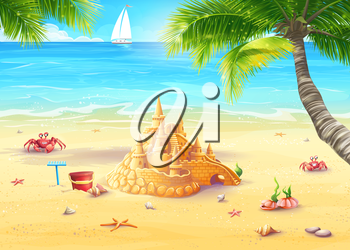 Royalty Free Clipart Image of a Sandcastle on the Beach With a Sailboat Behind