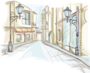 Royalty Free Clipart Image of a City Street