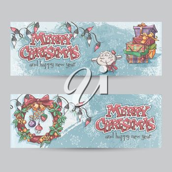 Set of horizontal Christmas banners with the image of a lamb, gifts and Christmas wreaths