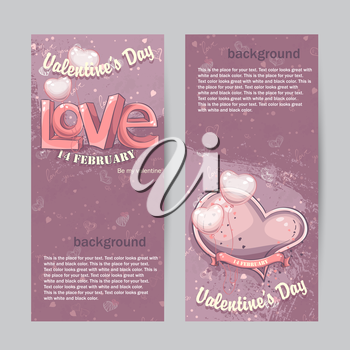 Set of vertical cards for Valentine's Day