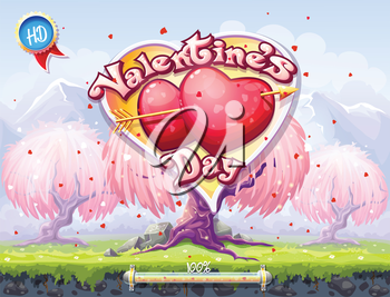 Example of the boot screen to the computer game or web design on the theme of Valentine's Day