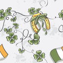 Seamless texture for St. Patrick's Day with a horseshoe and the flag of Ireland