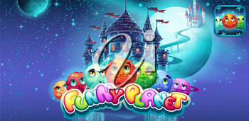 Set of horizontal banners and icons for the app store and Google Play to computer game funny planet
