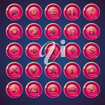Set pink maroon round buttons for web video game