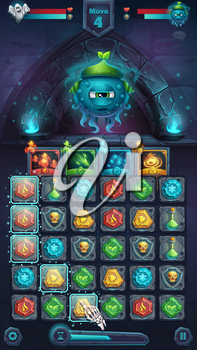 Monster battle GUI slug nature playing field match 3 - cartoon stylized vector illustration mobile format window with options buttons, game items, cards.