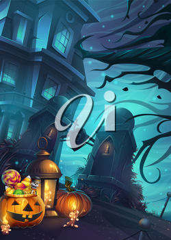 Halloween background - vector illustration mobile format screen. Bright image to create original video or web games, graphic design, screen savers.