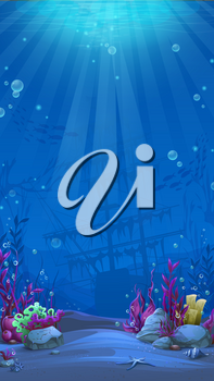 Undersea world in blue theme. Marine Life Landscape - the ocean and the underwater world with different inhabitants. For design websites and mobile phones, printing.