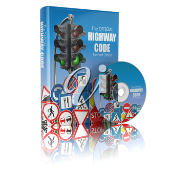 Highway code book and disk.  Book of traffic rules and law with traffic road sign and traffic light. Preparation for exam or driving  test concept. 3d illustration