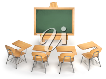 School classroom. Empty chalkboard and school desks isolated on white. Lesson, webinar or training cocncept. 3d illustration