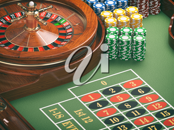 Gambling or casino background concept. Casino roulette wheel with casino chips on green table. 3d illustration