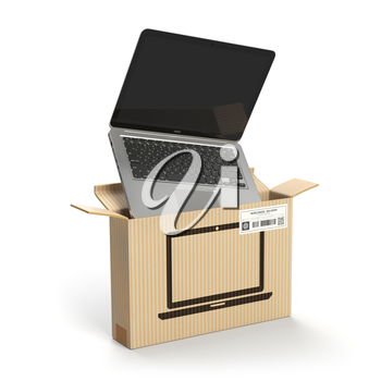 Laptop in carton cardboard box. E-commerce, internet online shopping and delivery concept. 3d illustration