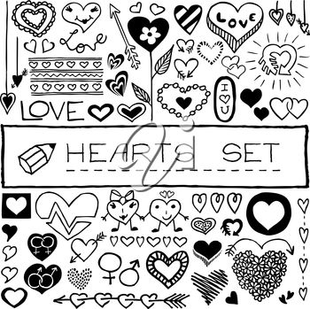 Hand drawn set of hearts and arrows for Valentine's day, wedding, birthday and other occasions.  Vector illustration