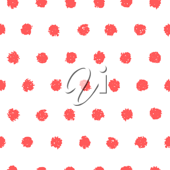 Polka dot seamless pattern. Hand painted oil pastel crayon. Design element for printables, wallpapers, baby shower invitation, birthday card, scrapbooking, fabric print etc.
