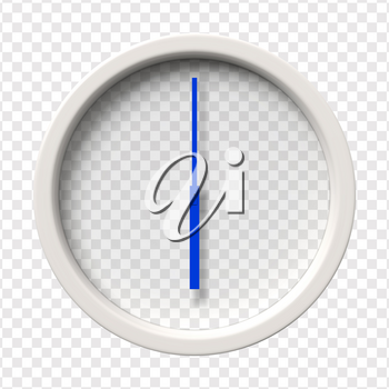 Realistic Wall Clock. Six oclock am or pm. Transparent face. Blue hands. Ready to apply. Graphic element for documents, templates, posters, flyers. Vector illustration.