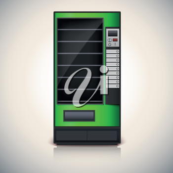 Vending Machine with shelves, green coloor. Vector icon, eps10